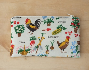 Garden cosmetic zip purse, jewellery, cosmetic or make up bag, small accessory pouch, travel bag, toiletry bag