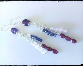 925 Silver earrings with Amethyst, Garnet, Rose Quartz and Iolites