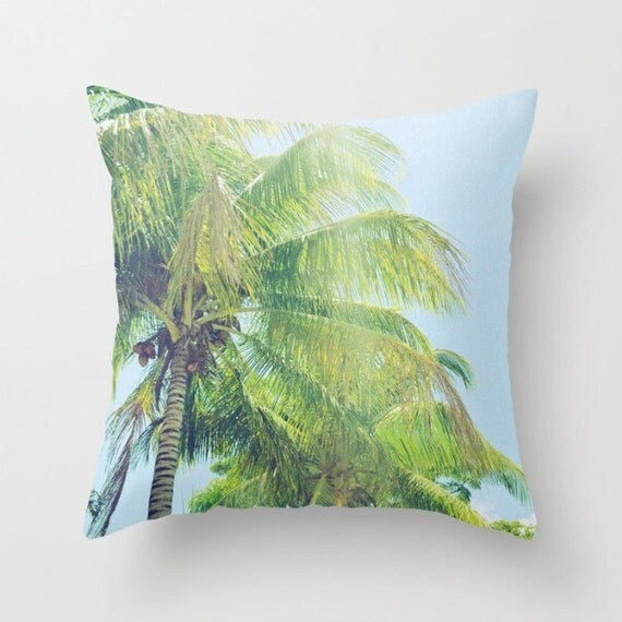 Decorative Pillow Palm Tree : palm tree throw pillow green and blue tropical pillow