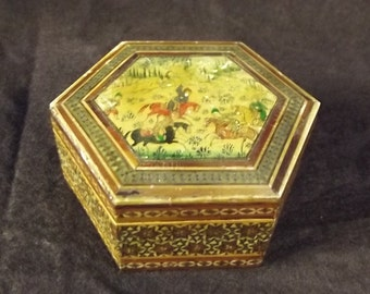 Wood Hexagon Container with Inlay