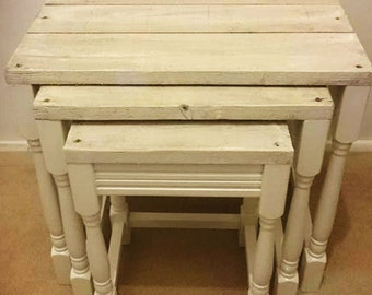 White Wash distressed Shabby Chic Nest of 3 x Tables