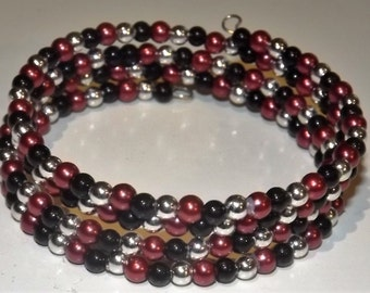 Bracelet of acrylic beads and glass beads  on memory wire, 4 wrap, Red, Black and silver