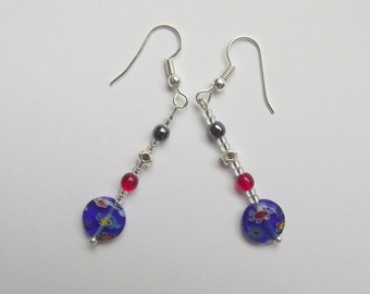 Millefiori and silver earrings (16.075)