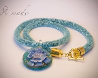 Necklace - Stardust mesh with blue hex seed beads and a lampwork pendant (#259547)