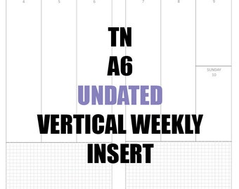TN A6 Undated Insert: MO2P, Vertical WO2P w/graph paper, Habit Tracker, Online Order Tracking, Monthly Goals & Reflections Pages