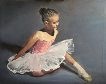 Original Oil Portrait Child Ballerina, child oil painting, wedding gift, figure painting, one of a kind art collectible, gift for mothers