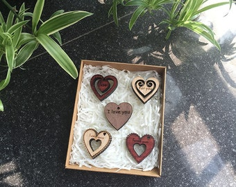 Custom, Personalized Gift, Holiday Gift  - Laser Engraved Mini Wood Heart Ornaments - (5) Set - Timber Green Woods