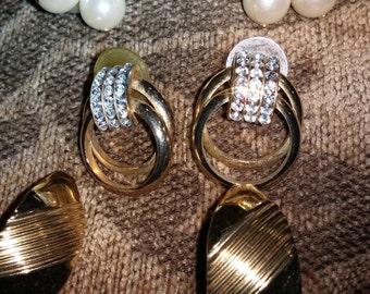 Vintage lot of  3 Gold Tone Earrings