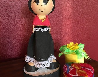 Frida Kahlo centerpiece fofucha doll, eva doll, Frida kahlo inspired party decor