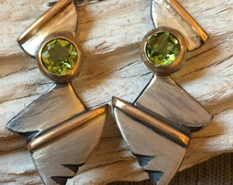 14k gold and sterling silver earrings with peridot