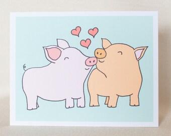 Pigs Love Card, Pig Anniversary Card, Pig Wedding Card, Pig greeting card