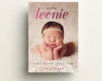 """Babykarte / Geburtsanzeige """"princess"""", DIN A6 hoch"""