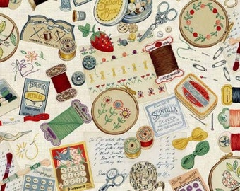 Sewing notions cotton fabric - Retro sewing theme fabric - Cream fabric - Vintage sewing machine fabric - Fabric by the metre - Makower