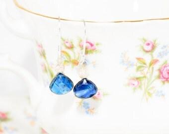 Sterling silver sapphire teardrop earrings