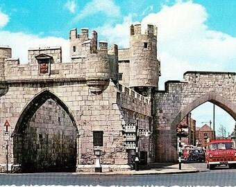 British Postcard, York England, Micklegate Bar, 70s Postcard, Vintage Cars, Travel Postcard, Color Photo Postcard, Unposted