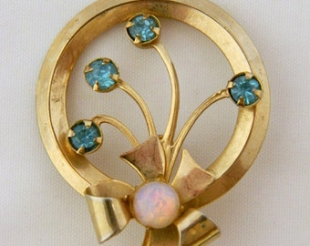 Vintage 70s Opal Brooch, Circle Brooch, Bow Brooch, 70s Pin, Blue Rhinestone, Gold Tone, Retro, Vintage Costume Jewelry, Free Shipping