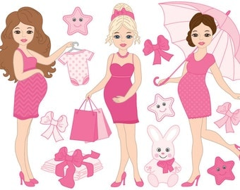 BUY 1 GET 2 FREE - Pregnancy Clipart - Digital Vector Baby Girl, Pregnant Woman, Pregnancy Clip Art for Personal and Commercial Use