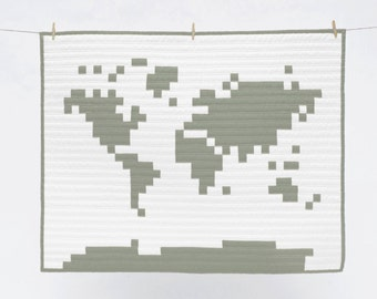 World Map Quilt - Taupe