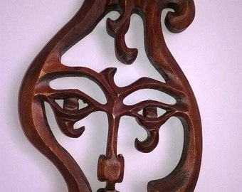 Wooden lyre,  Carving wall lyre,  Wooden masks, Handmade lyre