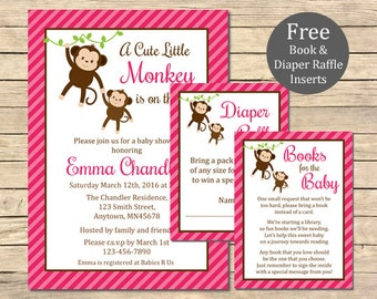 Pink Monkey Baby Shower Printable Invitation, Book Insert & Diaper Insert, Monkey Baby Shower Invite Package, Pink, Girl, Download, 006-P