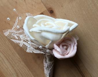 Vintage boutonniere, groom boutonniere, sola flower boutonniere, rose boutonniere, magnetic boutonniere, wedding flowers