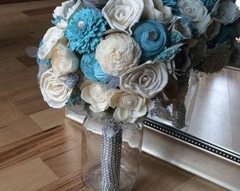 Winter wedding bouquet, alternative bouquet, sparkly bouquet, diamond bouquet, unique bouquet, bling bouquet, sola bouquet, sola flowers