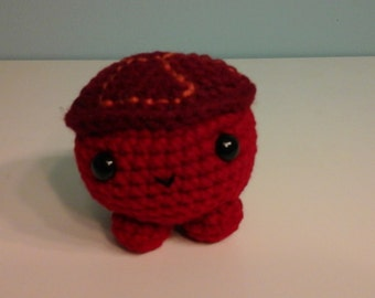 Crochet roly poly turtle, red.