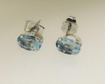 Aquamarine and White Gold Stud Earrings
