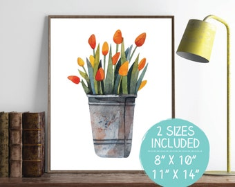Watercolor Tulips Print, Spring Floral Arrangement, Floral Printable, Spring Flowers Wall Art, Nursery Wall Print, Shabby Chic Wall Art