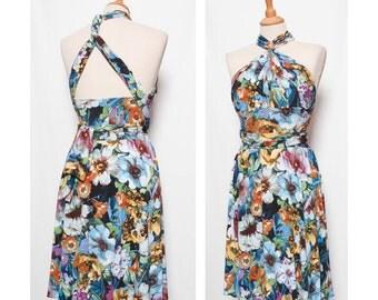 backless Tango dress with asymmetrical skirt in summer flowers - dance dress - summer dress