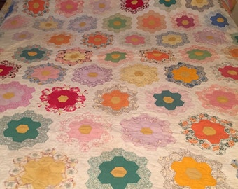 Antique Grandmother's Garden quilt