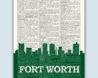 Fort Worth Skyline, Fort Worth Poster, Fort Worth Decor, Fort Worth Print, Fort Worth Wall Art, Fort Worth Gift, Fort Worth Texas