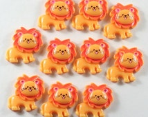 Lot 10pcs Cute Little Lion Cabochons Animal Resin Flatbacks Scrapbooking Hair Bow Center Craft Making Embellishments DIY