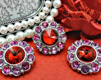 WHOLESALE Red Pink & Hot Pink Rhinestones Buttons Dress Buttons DIY Buttons 25mm 2997 3 8 24R