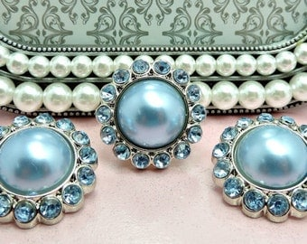 BABY BLUE Pearl Rhinestone Acrylic Buttons W/ Baby Blue Surrounding Rhinestones Button Bouquet Garment Coat Buttons 26mm 3185 8P 11R