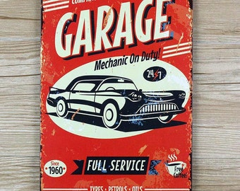 Mechanic On Duty Vintage Tin Sign