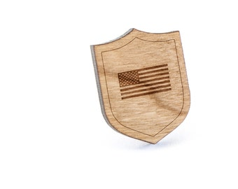 American Flag Lapel Pin, Wooden Pin, Wooden Lapel, Gift For Him or Her, Wedding Gifts, Groomsman Gifts, and Personalized
