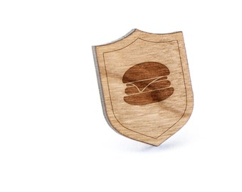 Burger Lapel Pin, Wooden Pin, Wooden Lapel, Gift For Him or Her, Wedding Gifts, Groomsman Gifts, and Personalized