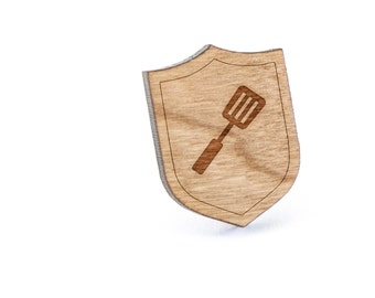 Spatula Lapel Pin, Wooden Pin, Wooden Lapel, Gift For Him or Her, Wedding Gifts, Groomsman Gifts, and Personalized