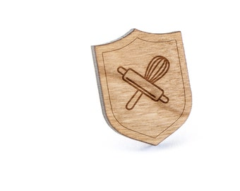 Rolling Pin And Whisk Lapel Pin, Wooden Pin, Wooden Lapel, Gift For Him or Her, Wedding Gifts, Groomsman Gifts, and Personalized