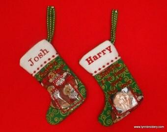 PHOTO PERSONALISED Christmas Stocking/ Dog & Cat Pawprint stocking