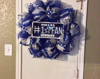 Dallas Cowboys Wreath-Dallas Cowboys-Dallas Cowboys Deco Mesh Wreath