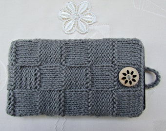 Smartphone Case, Gray Knitted iPhone Case, Knit Glasses Case, Phone Case, Smartphone Cover, Smartphone Sleeve, Mobile Phone Cover, Knit Case