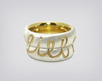 "Partner rings / wedding rings ""Love"" Silver/Gold"