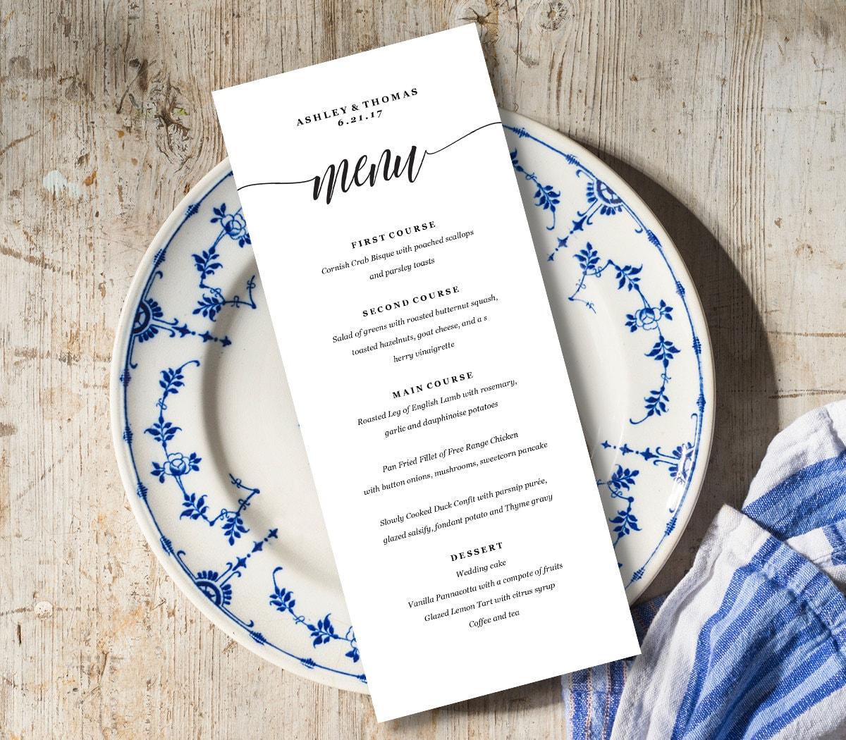 Menu Card Template Rustic Dinner Menu Wedding Menu Card