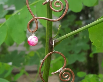 Pink Heart handcrafted copper earrings