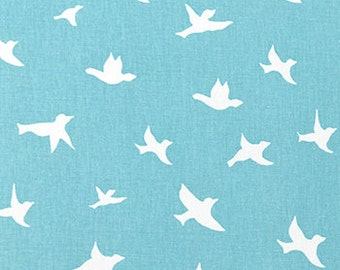 Bird Silhouette Coastal Blue/White twill Fabric Decorator Weight Cotton Made in the USA washable, Fast  Shipping