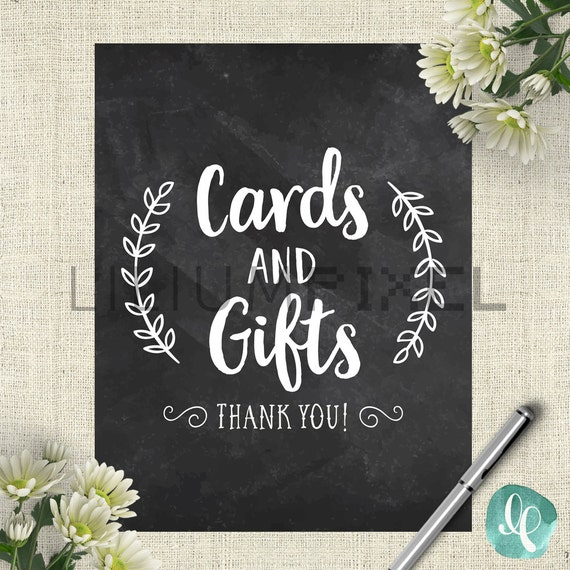 Wedding Gift Table: Chalkboard Cards And Gifts Wedding Sign / Wedding Gift Table