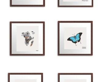 Bundle of six geometric native animal prints.