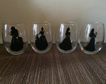 Set of 6 Disney Princess wine glasses.